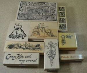 Christmas Theme Wood Mounted Rubber Stamps *Lot of 9 *NEW