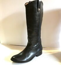 FRYE Womens Melissa Button Pull-On Leather Boots Black Sz 8.5
