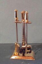 Dollhouse Miniature Clasics Brass Fireplace Tools Set, broom has real brush 1:12