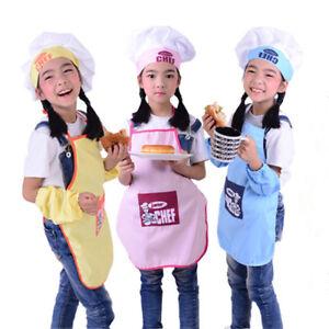 Children Apron+ Chef Hat Set DIY Painting Baby Kids Craft Art Cooking Baking