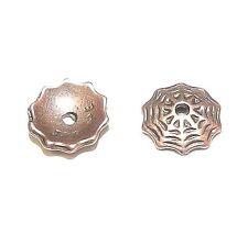 M335f Antiqued Copper 8mm Round Lacy Spider Web Pewter Bead Caps 2/pkg