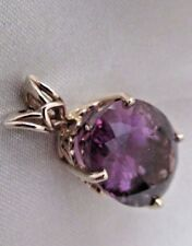 14 k gold amethyst Pendant yellow gold 1 1/8 inches