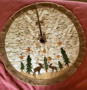 Rustic Lodge Cabin Tree Skirt birch faux shearling applique moose pines stars