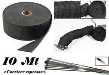 10m*5cm NASTRO BENDE BENDA TERMICA SCARICO MARMITTE COLLETTORI+ 4 FASCETTE INOX