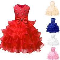 Flower Girls Lace Formal Princess Dress Kids Party Wedding Bridesmaid Tutu Dress