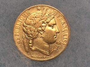 1851-A French 20 Franc Gold Coin Ceres Head Better Type High Grade Appearance