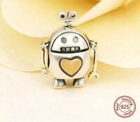 🤖 ROBOT GOLD HEART CHARM GENUINE STERLING SILVER 925 GIFT BIRTHDAY CZ PAVE NEW