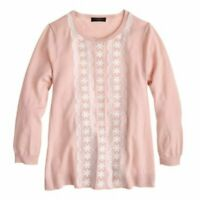 J.CREW $89 Womens Sweater Embroidered Merino Wool A-Line 3/4 Sleeve Pink Sz XS