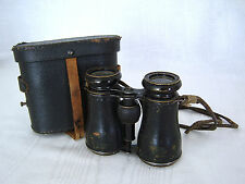 Antique MARCHAND PARIS Binoculars/ Leather Case & Neck Strap FRANCE
