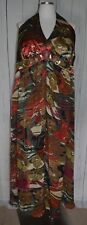 Signature by Robbie Bee Floral Printed Dress Size 20 W Wood Bead Sequins Halter