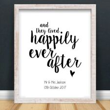 A4 Personalised Happily Ever After Typography Print Wedding Anniversary UNFRAMED