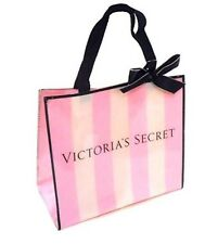 Victoria's Secret Little Mini Tote Signature Stripe Black Bow Makeup Gift Bag