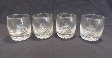 CROWN ROYAL Whisky Rocks Logo Glasses (4) Jewel Round Cut Base ITALY