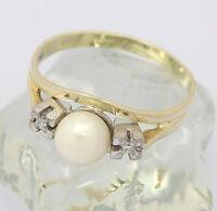 ♦♦ Ring in aus 585er 14 kt Gelb Weiß Gold mit Zuchtperle Diamant Perle Diamanten