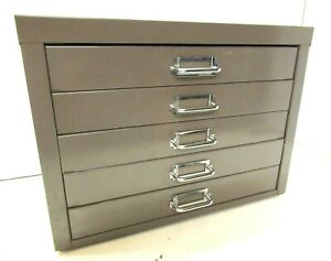 VINTAGE METAL A4 FILING CABINET 5 X DRAWER BY STOR - GOOD CONDITION 1970S