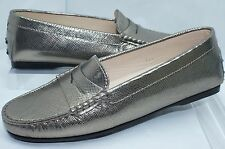 New Tod's Shoes Flats Rubber Moccasin Womens Size 37 Grey Gold Leather