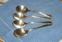 "Set of 4 Vintage "" Longchamps Chaumont "" Round Cream Soup Gumbo Spoons Oneida"