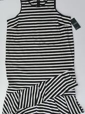 NWT Ralph Lauren Womens Plus Size Black Striped Jersey Dress Sz 1X NEW