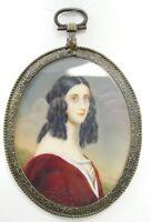 Antique Portrait Miniature Pendant Small Oval Hand Painted 19th Century