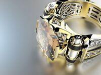 Herren Ring klassisch Edelstein Siegelring - Gold Silber Zirkon Business