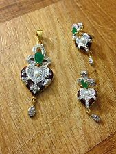 Simply Stunning Indian Gold Plated Cubic Zirconia CZ AD Pendant & Earring Set