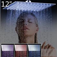 "Bathroom Ultra Thin LED 12"" Rainfall Shower Head Wall Mounted Chrome Square"