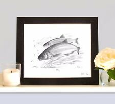 DACE Fishing Art Print Picture Present For River Stick Float Angler Fisherman