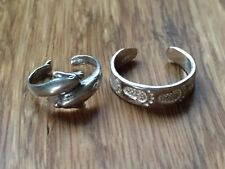 Two Beautiful New Dolphins Foot Toe rings Sterling Silver *Adjustable * H930