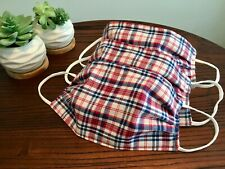Handmade Face Mask with Nose Bridge  - Red, White & Blue Plaid