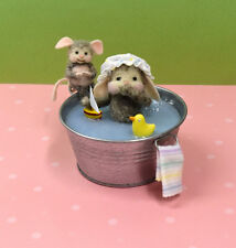 "Needle Felted ""Tubby Bubbles"" Embarrassed Bunny In The Bath Tub!"
