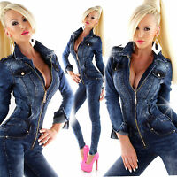Women Clubbing Jeans Jumpsuit Ladies Party Skinny Denim Overall Size 8 10 12 14