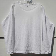 Eskandar WHITE Light Weight Linen Knit Crew Neck Long Sleeve Top O/S $495