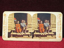 3 of a Kind Black Children on Stoop Stereoview Card VGC