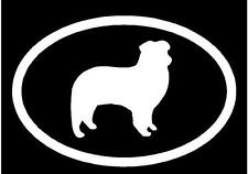 White Vinyl Decal - Australian Shepherd euro cattle dog puppy fun sticker
