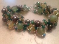 Vintage Green Yellow Stone Crystal Bracelet Sterling Silver Pearls 925