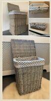 Luxury Grey Laundry Baskets Hand Made Polka Dot Lining With Lid Bathroom Bedroom
