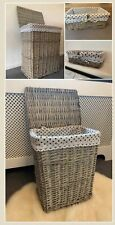 Luxury Grey Laundry Baskets Hand Made Polka Dot Lining With Lid Bathroom Bedroom