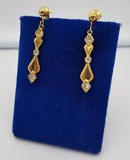 "Vintage Avon Gold Tone Clip On Earrings Dangle Design w/ Rhinestones 1 1/4"""