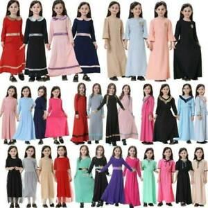 Toddler Kids Girls Islamic Muslim Maxi Dress Prayer Abaya Arab Kaftan Long Robe