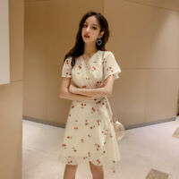 Women's V-neck Chiffon Floral Printed A-line Dress Casual Lace Up Slim Dresses