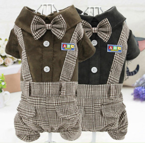 Pet Clothes British-style Shirt And Checked Overalls With Bow Tie For Small Dogs