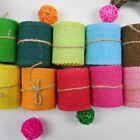 2m Colorful Jute Fabric Burlap Ribbon Roll Hessian Ribbon Trim Tape DIY Wedding