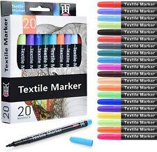 20 x Colori assortiti per tessuti, Pennarelli permanenti e lavabili in lavatrice