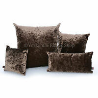New Brown Crushed Velvet Fabric Reversible Filled Cushions British Made Quality