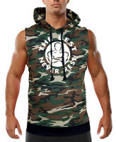 Men's The Best Never Rest Camo Sleeveless Vest Hoodie Workout Fitness Gym Lift