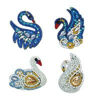 4pcs DIY Full Drill Special Shaped Diamond Painting Swan Keyring Decor Gift Kits