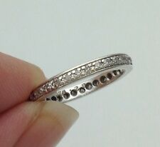 White Gold Full .26ct Diamond Wedding Band, Eternity or Stacking Ring Size M