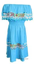Turquoise w/White CROCHET MEXICAN DRESS Embroidered ONE SIZE Fits M-XL 5 De Mayo