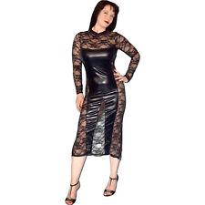 sexy Spitzen-Lack ABENDKLEID* S * GoGo Partykleid* wetlook Gothic Stretchkleid