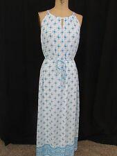 GAP Blue/White Spaghetti Strap Self-Tie Sleeveless Maxi Dress-Size XS(TP)
